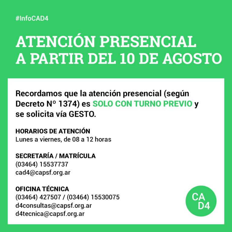 ATENCIÓN PRESENCIAL A PARTIR DEL 10 DE AGOSTO